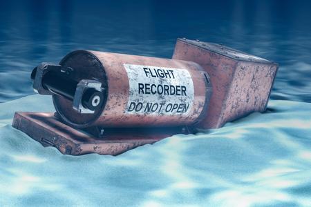 Flugdatenschreiber, Blackbox unter Wasser. 3D-Rendering
