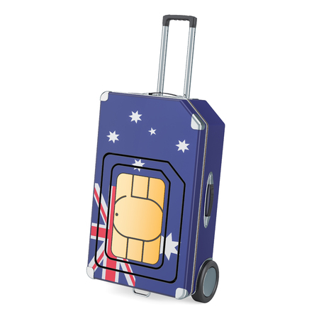 Travel Sim, roaming and traveling in Australia, 3D rendering isolated on white background