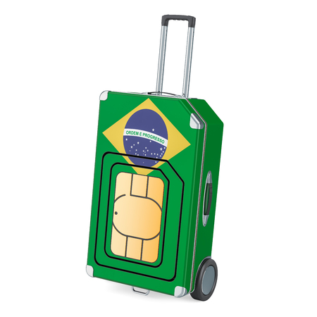 Travel Sim, roaming and traveling in Brazil, 3D rendering isolated on white background Stock Photo