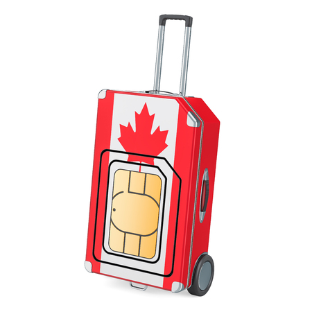 Travel Sim, roaming and traveling in Canada, 3D rendering isolated on white background