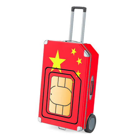 Travel Sim, roaming and traveling in China, 3D rendering isolated on white background