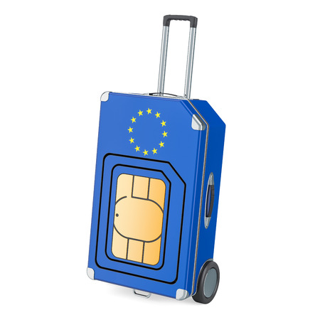 Travel Sim, roaming and traveling in European Union, 3D rendering isolated on white background