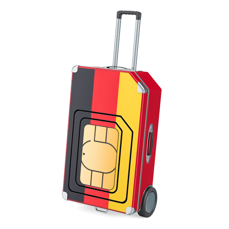 Travel Sim, roaming and traveling in Germany, 3D rendering isolated on white background