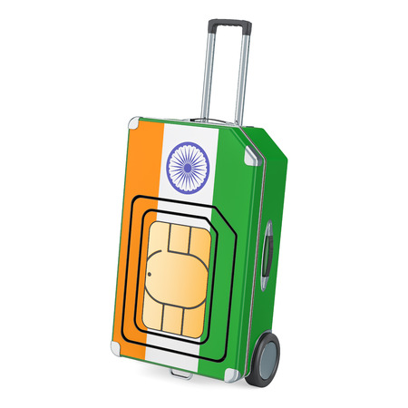 Travel Sim, roaming and traveling in India, 3D rendering isolated on white background Stock Photo