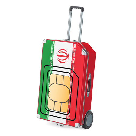 Travel Sim, roaming and traveling in Iran, 3D rendering isolated on white background Stock Photo