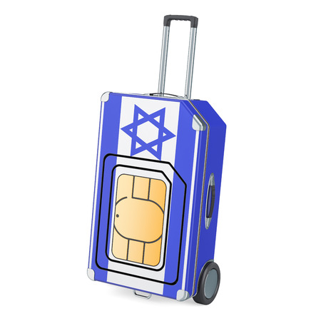 Travel Sim, roaming and traveling in Israel, 3D rendering isolated on white background