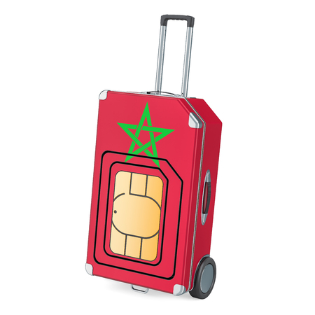 Travel Sim, roaming and traveling in Morocco, 3D rendering isolated on white background