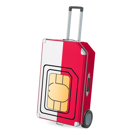 Travel Sim, roaming and traveling in Poland, 3D rendering isolated on white background