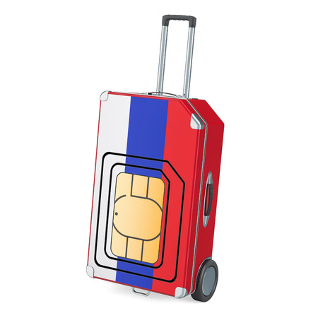 Travel Sim, roaming and traveling in Russia, 3D rendering isolated on white background