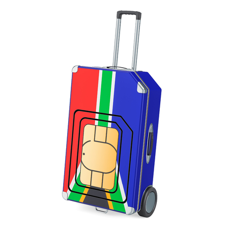 Travel Sim, roaming and traveling in South Africa, 3D rendering isolated on white background Stock Photo