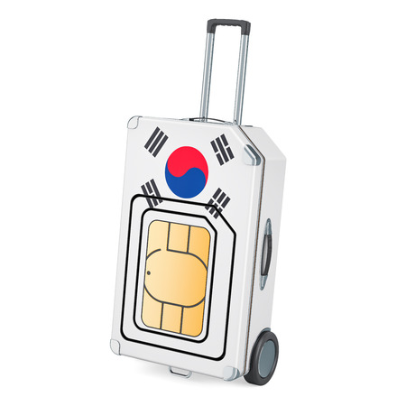 Travel Sim, roaming and traveling in South Korea, 3D rendering isolated on white background