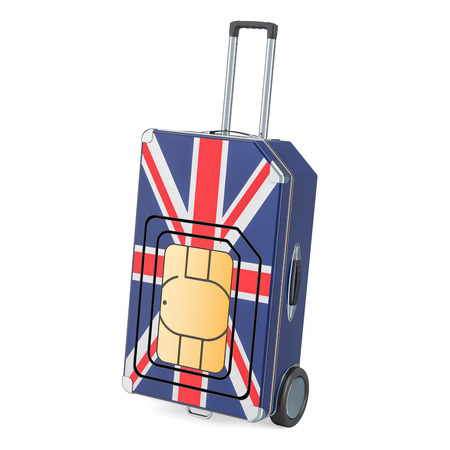 Travel Sim, roaming and traveling in the United Kingdom, 3D rendering isolated on white background