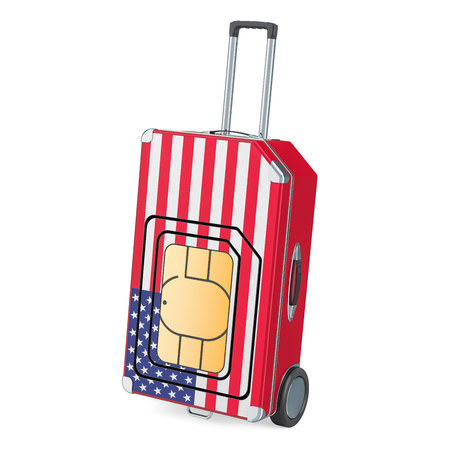 Travel Sim, roaming and traveling in the United States, 3D rendering isolated on white background