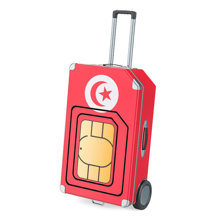 Travel Sim, roaming and traveling in Tunisia, 3D rendering isolated on white background Stock Photo