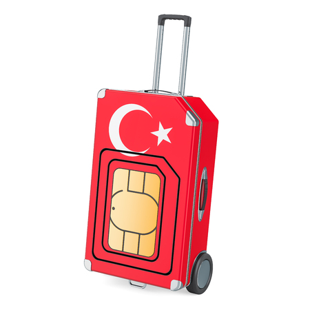 Travel Sim, roaming and traveling in Turkey, 3D rendering isolated on white background Stock Photo