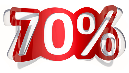 Discount concept, 70 % inscription cut from paper, 3D rendering Stock Photo