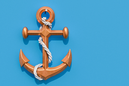 Anchor on the blue wall, 3D rendering