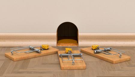 Agujero de ratón en la pared y trampas para ratón con queso alrededor, renderizado 3D