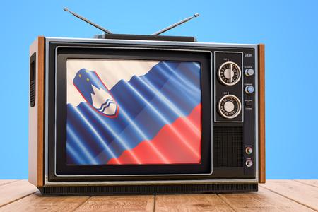Slovenian Television concept, 3D rendering Banco de Imagens
