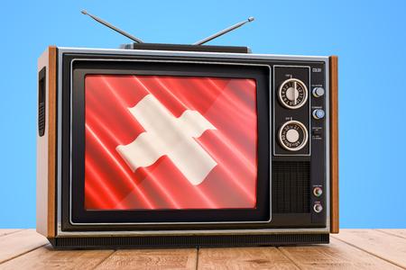 Swiss Television concept, 3D rendering Banco de Imagens