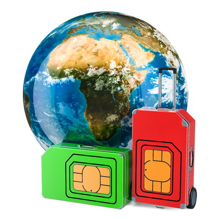 Global roaming and traveling, Travel Sim concept, 3D rendering isolated on white background Stock Photo