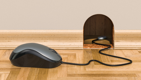 Computer Mouse near mouse hole, 3D rendering