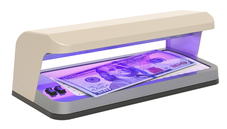 Currency detector, detector banknotes. 3D rendering isolated on white background Фото со стока - 115788654