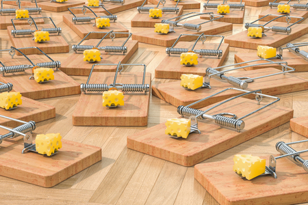 Mouse traps with cheese on the floor, 3D rendering Standard-Bild - 115788660