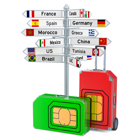 Worldwide roaming and traveling. International SIM Card concept, 3D rendering
