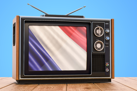Concept de télévision française, rendu 3D Banque d'images