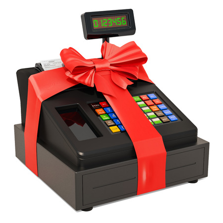 Cash register with bow and ribbon, gift concept. 3D rendering