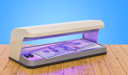 Currency detector, detector banknotes on the wooden table. 3D rendering