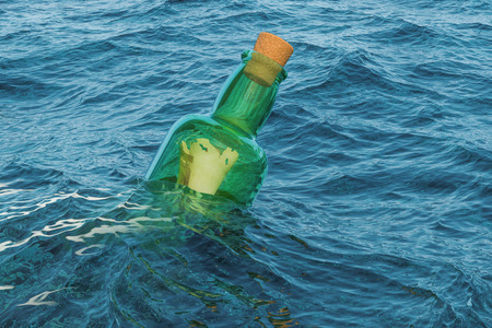 Message in a bottle floating in water, 3D rendering