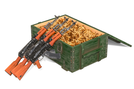 Assault rifles with military wooden ammunition box full of rifle bullets, 3D rendering