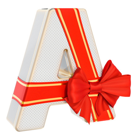 Letter A, gift box shaped of a letter A with red ribbon bow. 3D rendering isolated on white background