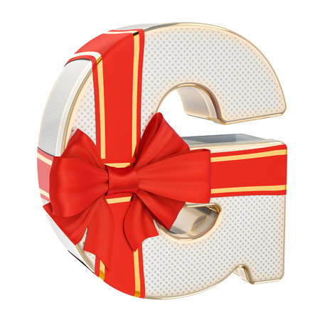 Letter G, gift box shaped of a letter G with red ribbon bow. 3D rendering isolated on white background