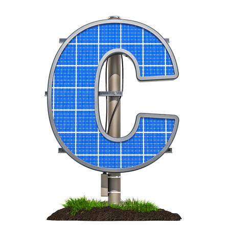 Alphabet letter C. Solar panel in shaped of letter C, 3D rendering isolated on white background