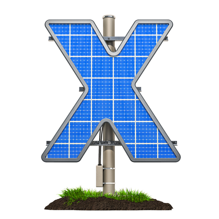 Alphabet letter X. Solar panel in shaped of letter X, 3D rendering isolated on white background Stockfoto