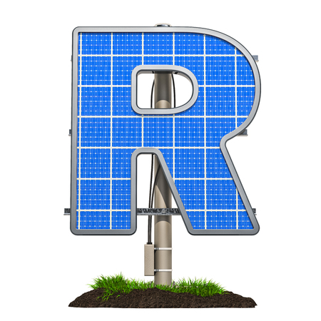 Alphabet letter R. Solar panel in shaped of letter R, 3D rendering isolated on white background
