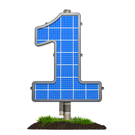 Number 1. Solar panel in shaped of number 1, 3D rendering isolated on white background Фото со стока