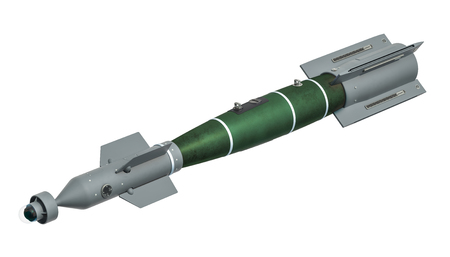 An air-to-surface missile (ASM). 3D rendering isolated on white background
