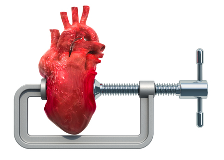 Heart attack, heart disease concept. Vise with human heart. 3D rendering isolated on white background