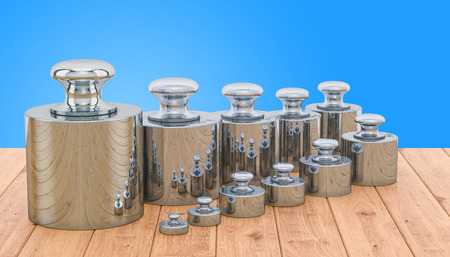 Weights Scale Calibration Set on the wooden table, 3D rendering Stok Fotoğraf - 116480444