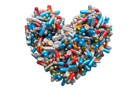 Heart from medicine pills, capsules, tablets. Medicines for heart disease concept, 3D rendering isolated on white background Banque d'images