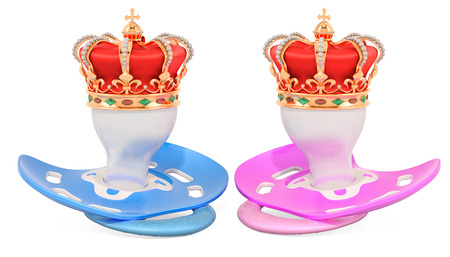 Royal twins concept. Two pacifiers with golden crown. 3D rendering isolated on white background
