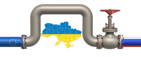 New gas pipeline from Russia to EU bypassing Ukraine, 3D rendering  isolated on white background Standard-Bild