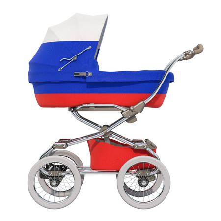 Baby stroller with Russian flag texture, 3D rendering isolated on white background