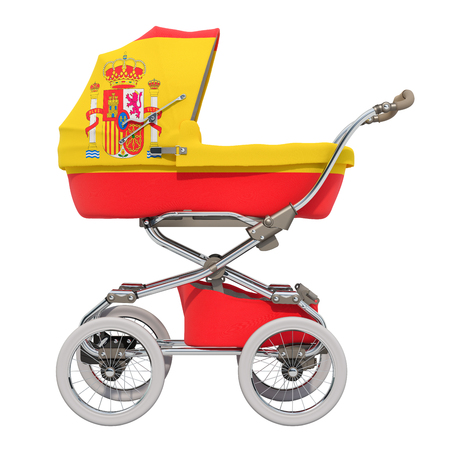 Baby stroller with Spanish flag texture, 3D rendering isolated on white background