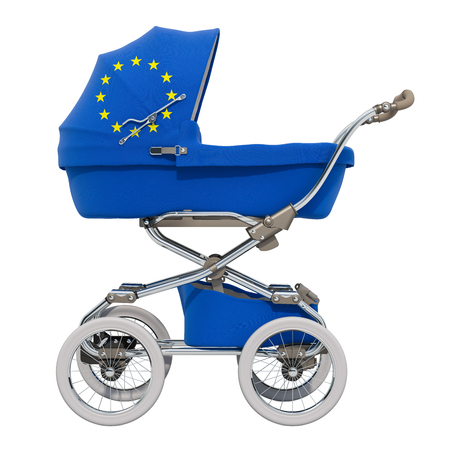 Baby stroller with the European Union flag texture, 3D rendering isolated on white background Standard-Bild - 116655448