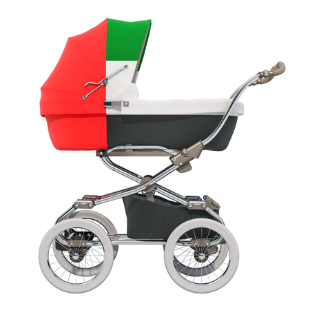 Baby stroller with the UAE flag texture, 3D rendering isolated on white background Standard-Bild - 116655449